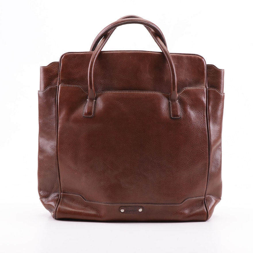 Cole Haan Brown Grained Leather Handbag with Contrast Stitching
