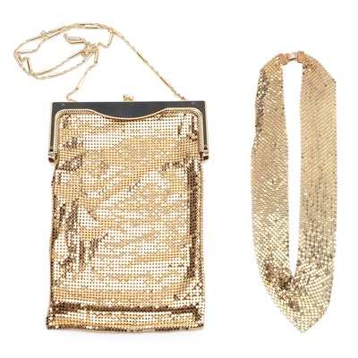 Whiting & Davis Gold Tone Mesh Frame Bag With Chain Strap and Mesh Bib Necklace
