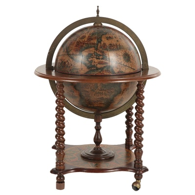Italian Style Flip-Top Bar Globe-on-Stand
