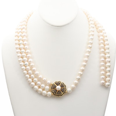 Gold Wash on Sterling Silver Cultured Pearl, Sapphire and Ruby Necklace