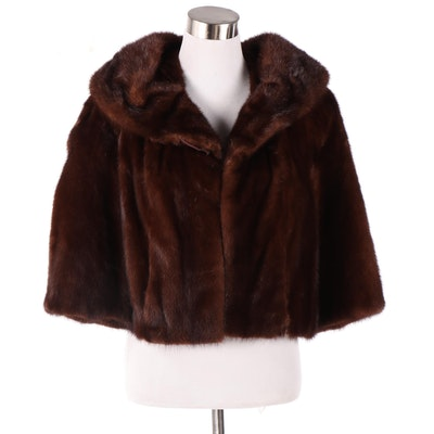 Mahogany Brown Mink Fur Cropped Jacket, 1960s Vintage