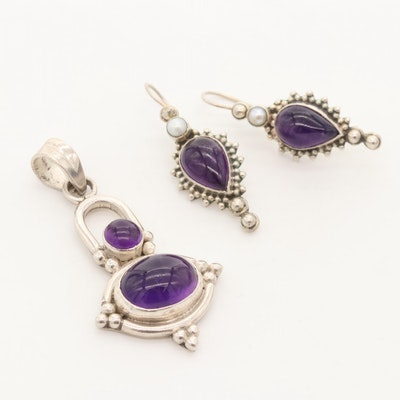 Sterling Silver Amethyst and Cultured Pearl Pendant and Drop Earrings