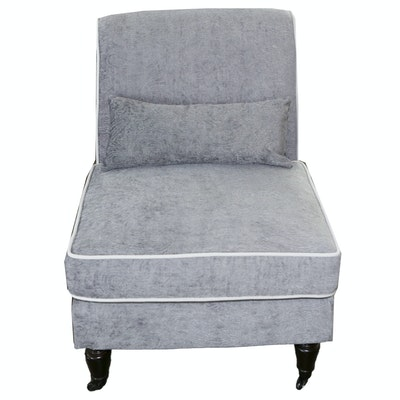Grey Upholstered Slipper Chair with Cream Trim