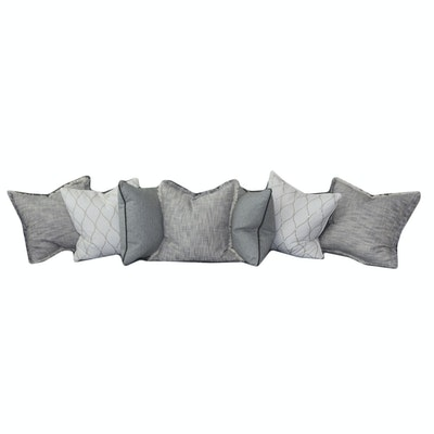 Assortment of Grey and Ivory Throw Pillows