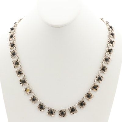 Taxco Sterling Silver Obsidian Necklace