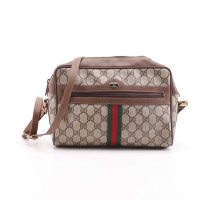 Gucci Accessory Collection GG Supreme Canvas Web Stripe Crossbody Bag, Vintage