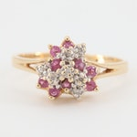 14K Gold Diamond and Pink Sapphire Cluster Ring