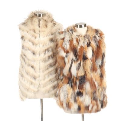 Bagatelle Fox Fur Vest and BCBG Max Azria Fox and Dyed Rabbit Fur Vest