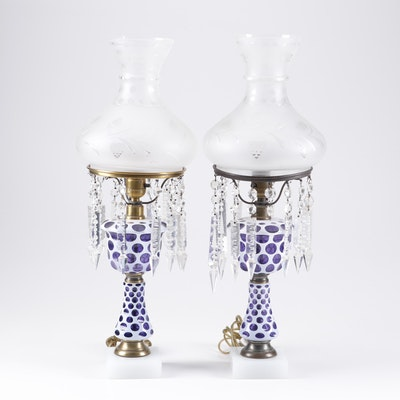 Cased Cut to Cobalt Glass Boudoir Lamps with Prisms, Early 20th Century