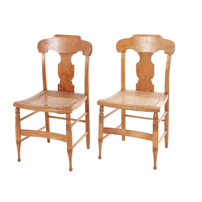 Pair of Late Federal Maple and Bird's-Eye Maple Side Chairs, Circa 1830