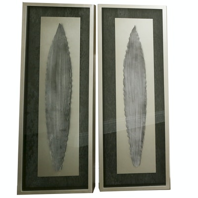 Pair of Abstract Ceramic Leaves with Metallic Shadow Box Frames