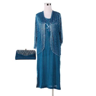 Sister Max Blue Silk Beaded Dress Set Including Evening Bag