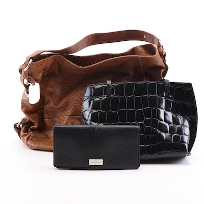 Furla Snakeskin and Crocodile Embossed Leather Bags with Cole Haan Wallet
