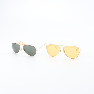 Bausch & Lomb Ray-Ban Ambermatic and Outdoorsman Aviator Sunglasses, Vintage