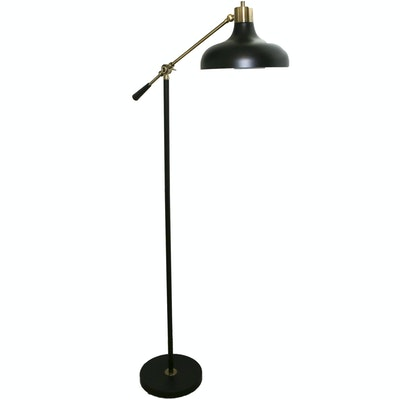 Contemporary Black Matte and Gold Tone Metal Floor Lamp
