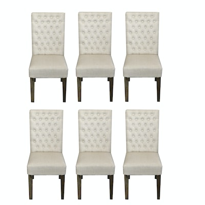Linen Upholstered Dining Chairs with Button-Tufted Backs, Set of 6