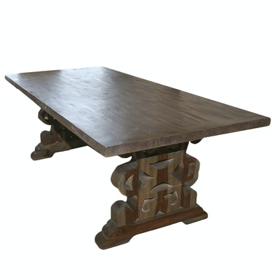 Rustic Transitional Wooden Dining Table with Carved Openwork Legs