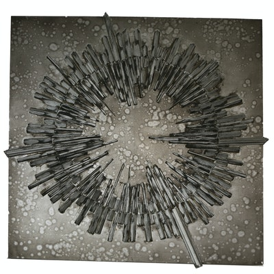 Abstract Metallic Radial Mixed Media Print on Board