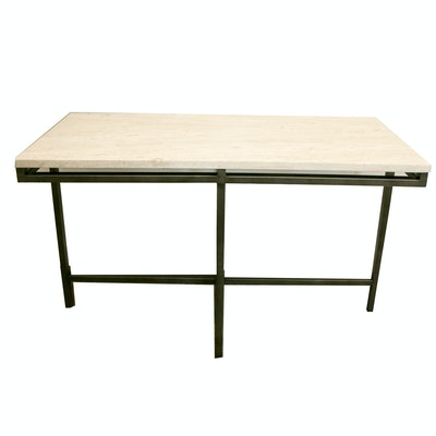Contemporary Stone Top Console Table with Iron Base