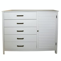Contemporary White Five-Drawer Clothes Press