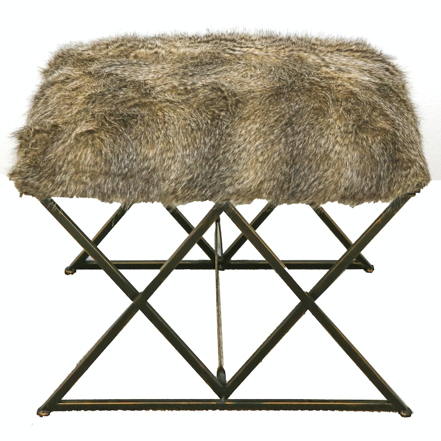 Contemporary Metal and Faux-Fur Vanity Stool