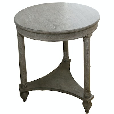 Contemporary Neoclassical Style Two-Tier Side Table