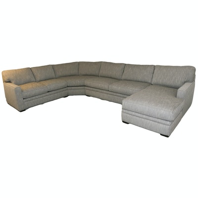 Jonathan Lewis Contemporary Heather Gray Sectional Sofa