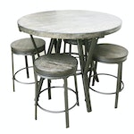 Contemporary Engineered Wood and Metal Table with 4 Matching Barstools