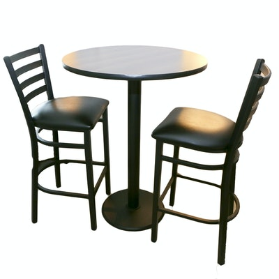 Contemporary Laminate and Metal Pub Table with Pair of Stools