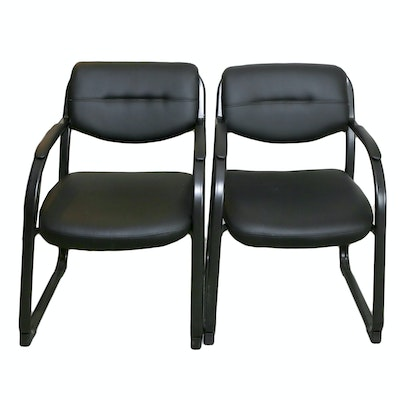 Pair of Contemporary Black Metal and Faux-Leather Office Armchairs