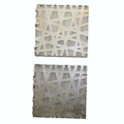 Pair of Square Woven Metal Wall Hangings