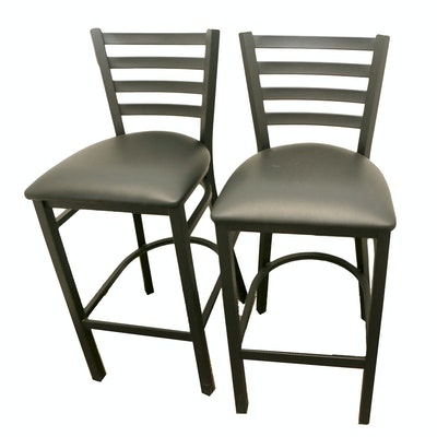 Pair of Contemporary Metal Barstools with Vinyl Upholstered Seats