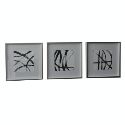 Three Framed Abstract Black & White Prints