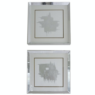 Pair of Abstract Prints with Silver Acrylic Frames