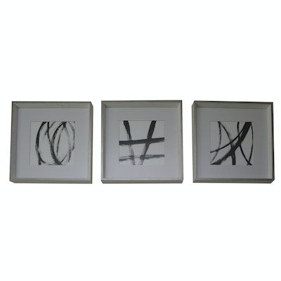 Three Framed Abstract Black & White Prints with Metallic Finish Frames