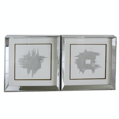 Pair of Abstract Prints with Silver Tone Acrylic Frames