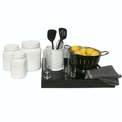 Assorted Kitchen-Themed Decor and Utensils