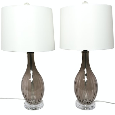 Mauve-Tinted Glass Table Lamps with Drum Shades