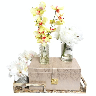 Decorative Tray with Box and Faux Arrangements