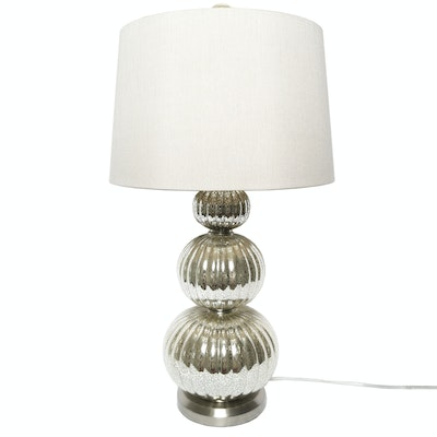 Stacked Mercury Glass Orb Table Lamp with Drum Shade