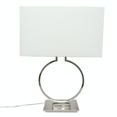 Modern Chrome Table Lamp with White Box Shade