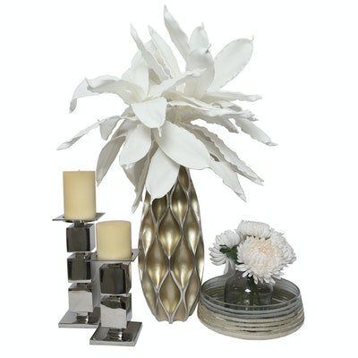 Assortment of Candleholders and Vessels with Faux Flowers