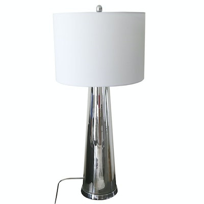 Contemporary Tapered Glass Table Lamp with Silver-Tone Finish