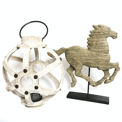 Resin Horse Statue with Wooden Lantern Table Decor