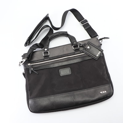 Tumi Black Leather and Nylon Briefcase with Shoulder Strap