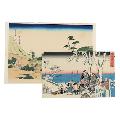 Japanese Ukiyo-e Woodblock Prints After Hokusai and Hiroshige