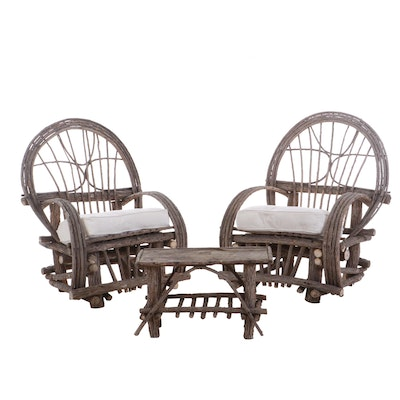 Bentwood Willow Armchairs and Accent Table