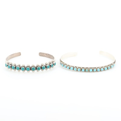 Southwestern Style Sterling Turquoise and Imitation Turquoise Cuff Bracelets