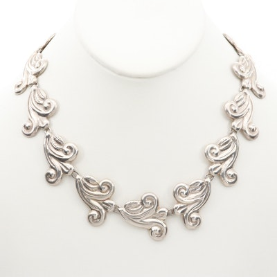 Vintage Taxco Sterling Silver Scroll Work Necklace