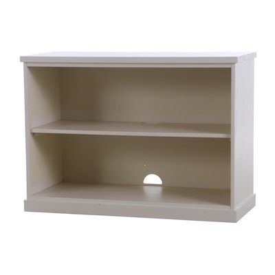 Contemporary White-Painted Two-Shelf Open Bookcase